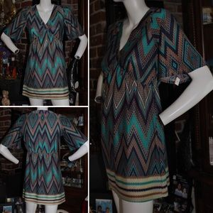 Baby and Me Chevron Pattern Dress Size S NWOT